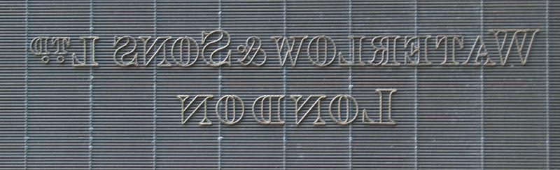 M 207 d Waterlow & Sons Ltd London - lettering only